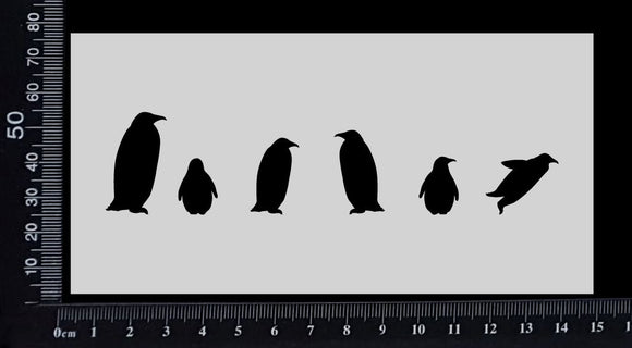 Penguin Border - Stencil - 75mm x 150mm