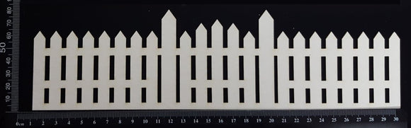 Picket Fence Border - A - Large - White Chipboard