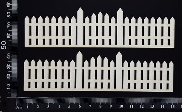 Picket Fence Border Set - B - Small - White Chipboard