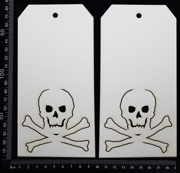 Pirate Tag Set - Large - B - White Chipboard