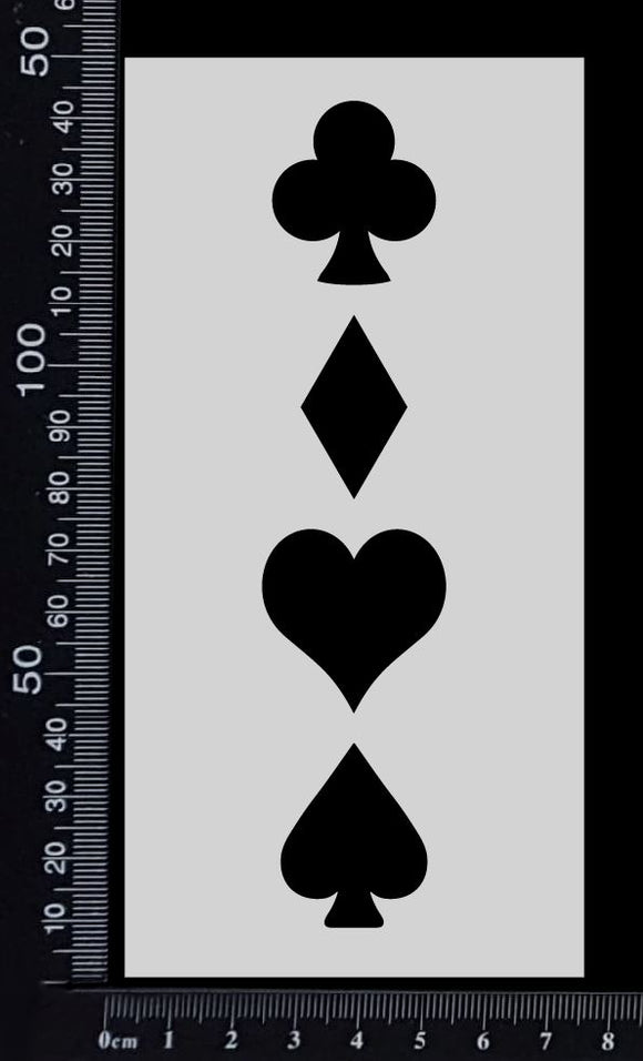 Playing Card Suits - Stencil - 75mm x 150mm