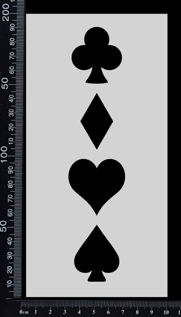 Playing Card Suits - Stencil - 100mm x 200mm