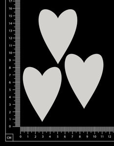 Pointed Hearts Set - White Chipboard