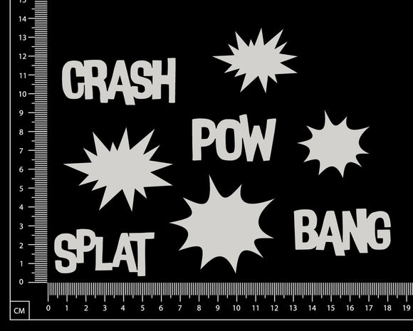 Pow Splat Bang Crash Set - White Chipboard
