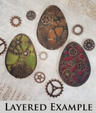 Steampunk Easter Egg - Layering Set - C - White Chipboard