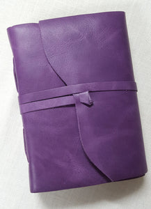 Purple Leather Bound Journal with Deckled Edge Handmade Paper