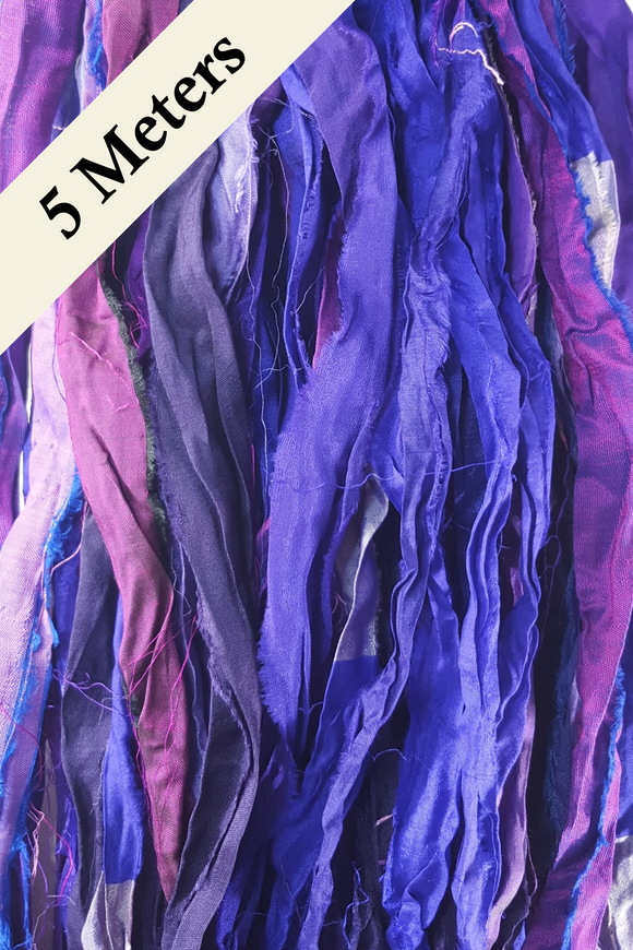 Reclaimed Sari Silk Ribbon - Purple Haze - 5m Pack