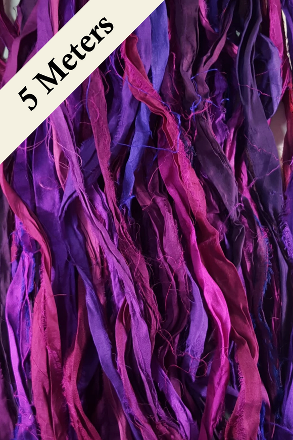 Reclaimed Sari Silk Ribbon - Purple Rain - 5m Pack