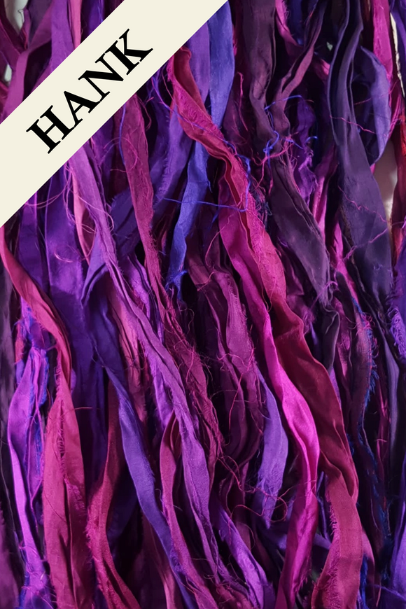 Reclaimed Sari Silk Ribbon - Purple Rain - Hank