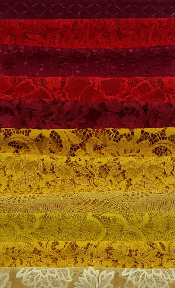 Assorted Lace Pack - Shades of Red/Yellow/Orange