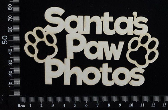 Santa's Paw Photos - White Chipboard