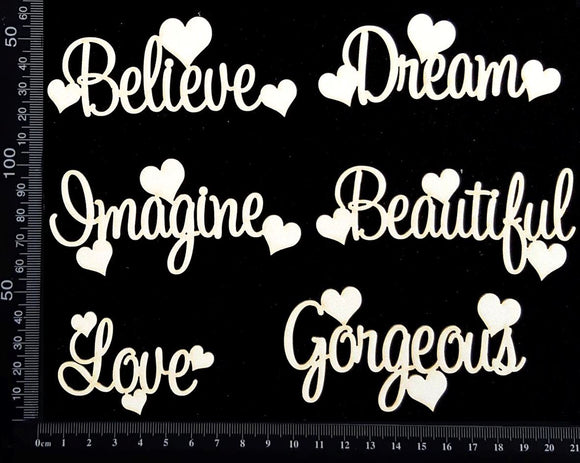 Sapphire Heart Words Set - A - White Chipboard