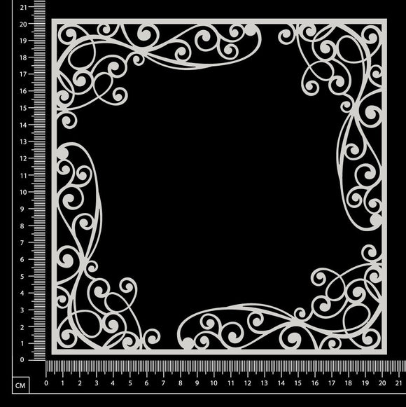 Scroll Flourish Frame - White Chipboard