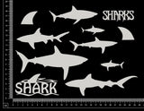 Sharks Set - A - White Chipboard