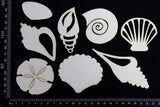 Shells Set - A - Large - White Chipboard