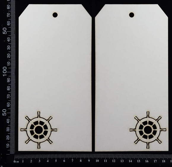 Ships Wheel Tag Set - Large - C - White Chipboard