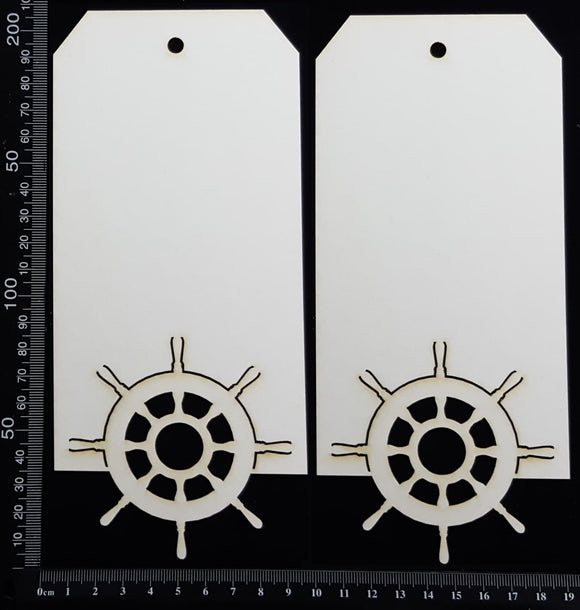 Ships Wheel Tag Set - Large - D - White Chipboard