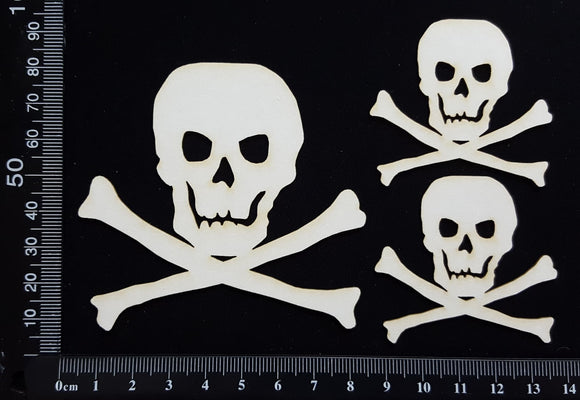 Skull and Crossbones Set - White Chipboard