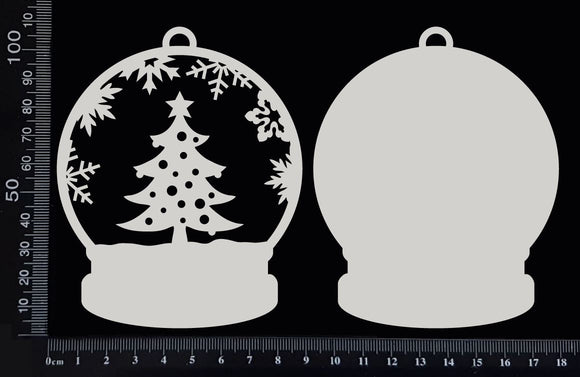 Snow Globe - Christmas Tree - White Chipboard