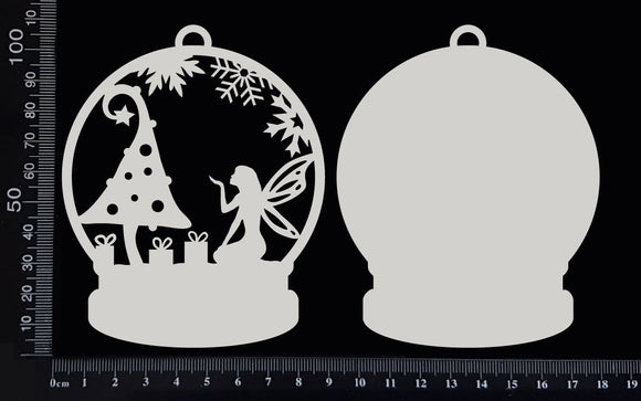 Snow Globe - Fairy Christmas - B - White Chipboard