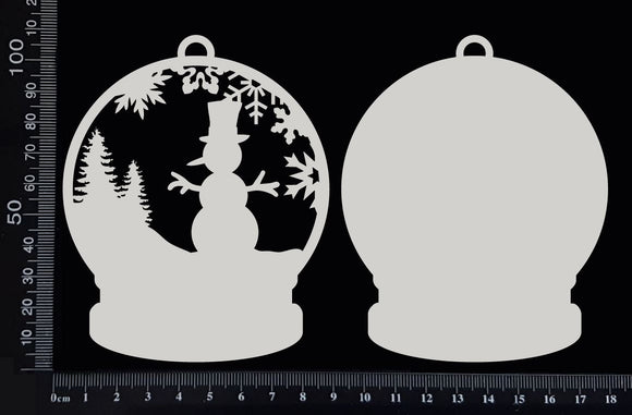 Snow Globe - Snowman - White Chipboard