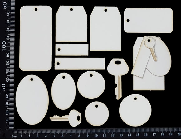 Stackables Set - Tags and Charms - White Chipboard