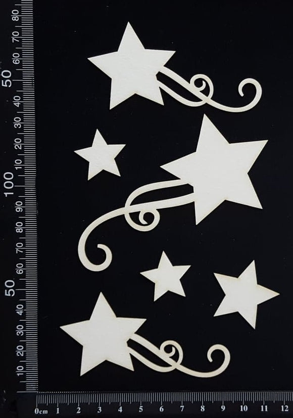 Star Flourish Set - White Chipboard