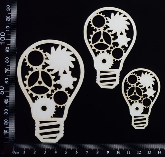 Steampunk Bulbs Set - E - White Chipboard