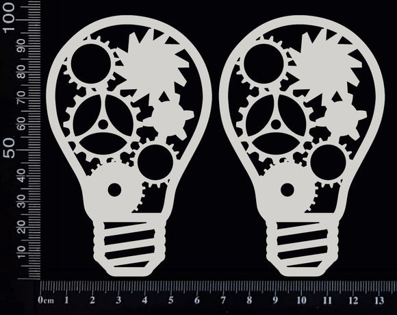 Steampunk Bulbs Set - A - White Chipboard
