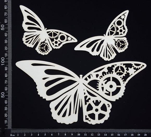 Steampunk Butterfly Set - C - White Chipboard