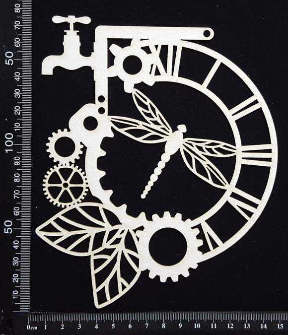Steampunk Dragonfly Clock - White Chipboard