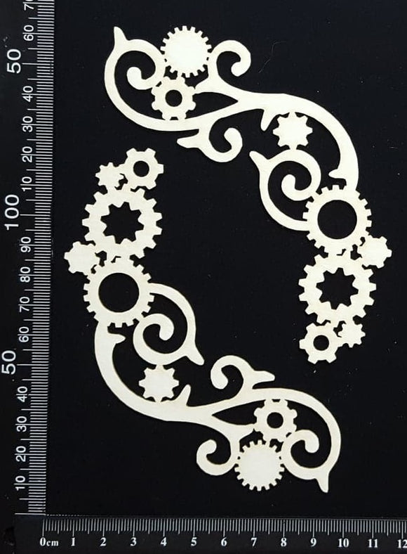 Steampunk Flourish Set - White Chipboard