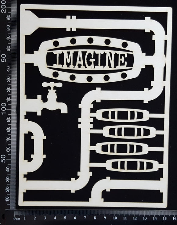 Steampunk Journal Panel - DG - Imagine - Large - White Chipboard