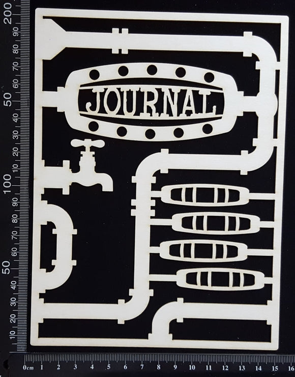 Steampunk Journal Panel - DI - Journal - Large - White Chipboard