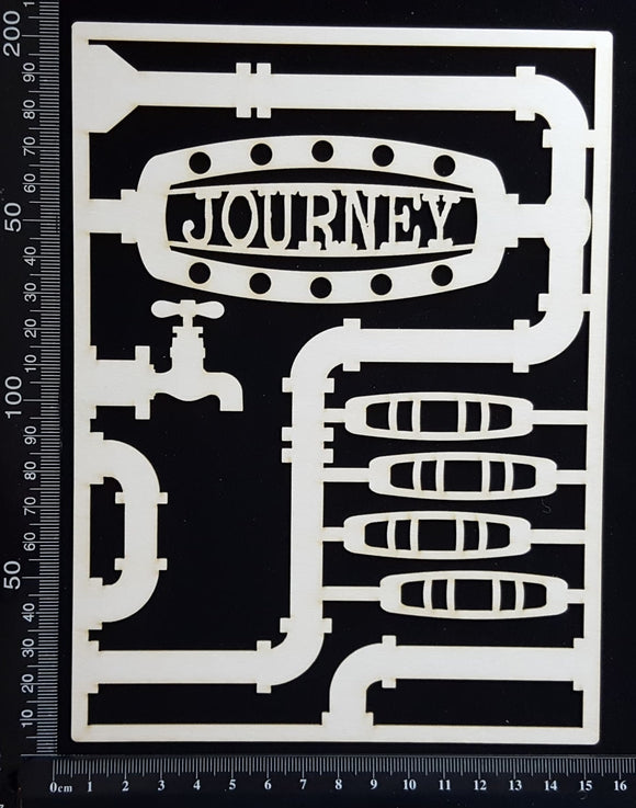Steampunk Journal Panel - DJ - Journey - Large - White Chipboard