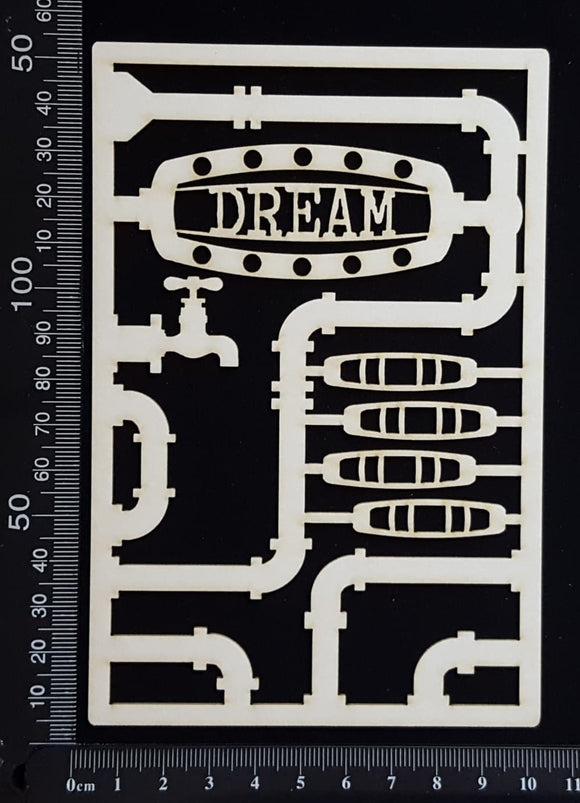 Steampunk Journal Panel - CF - Dream - Small - White Chipboard