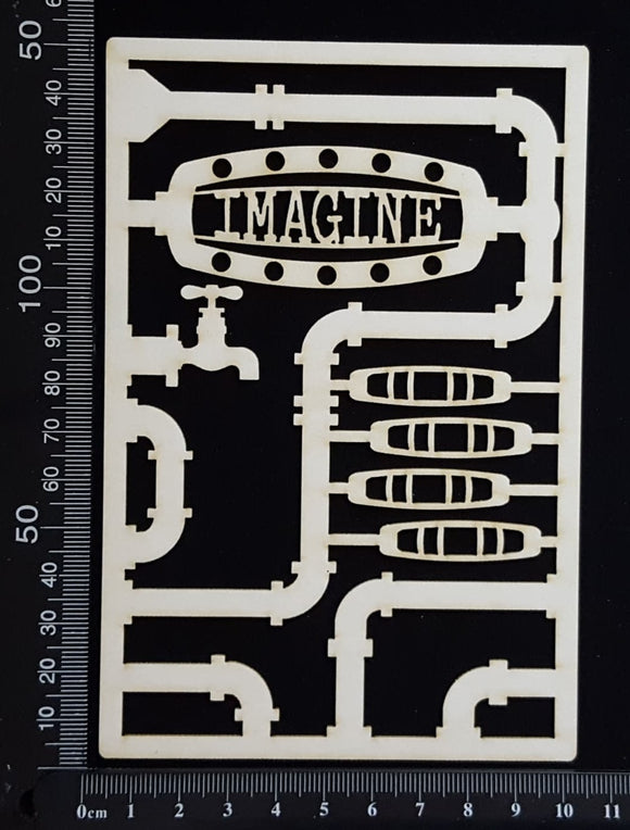 Steampunk Journal Panel - CG - Imagine - Small - White Chipboard