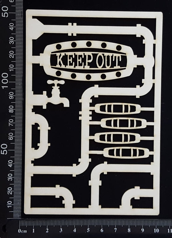Steampunk Journal Panel - CK - Keep Out - Small - White Chipboard
