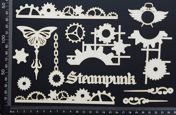 Steampunk Set - B - White Chipboard