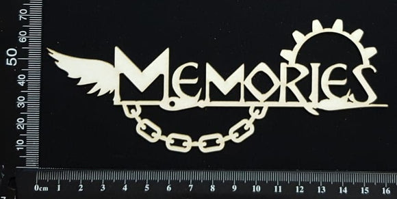 Steampunk Title - Memories - White Chipboard