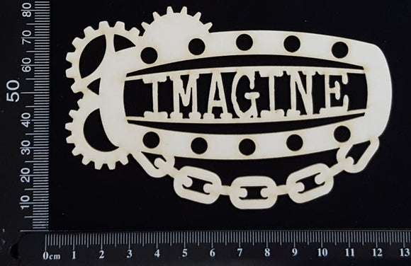 Steampunk Title Plate - FF - Imagine - White Chipboard