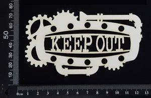 Steampunk Title Plate - FJ - Keep Out - White Chipboard