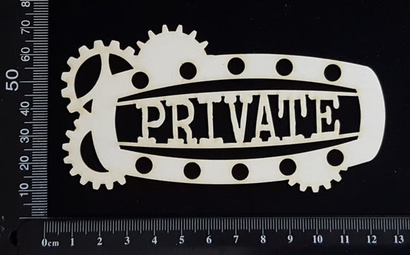 Steampunk Title Plate - FL - Private - White Chipboard