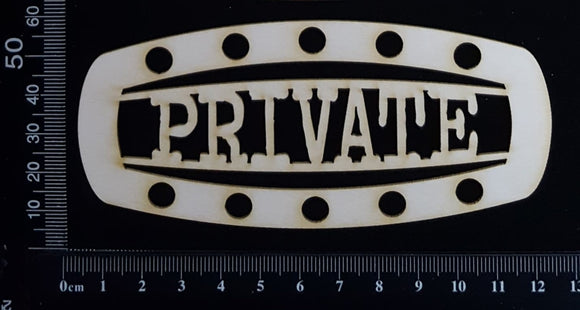 Steampunk Title Plate - GL - Private - White Chipboard