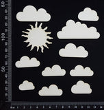 Sun and Clouds Set - White Chipboard