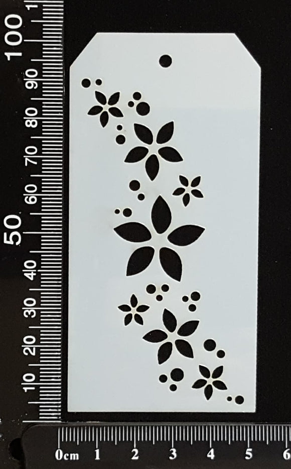 Tag Stencil - Flower Trail - 50mm x 100mm