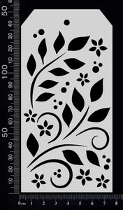 Tag Stencil - Leaves and Curls - 75mm x 150mm