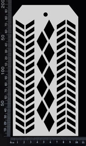 Tag Stencil - Chevron and Harlequin - 100mm x 200mm