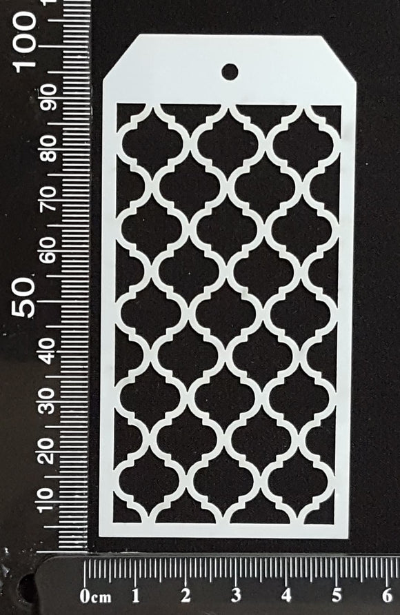 Tag Stencil - Moroccan Lattice - 50mm x 100mm