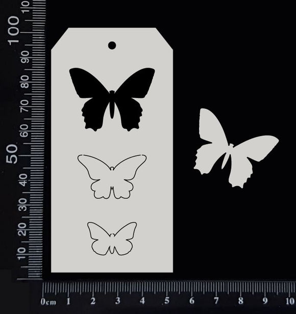 Tag of Elements - Butterflies - B - White Chipboard